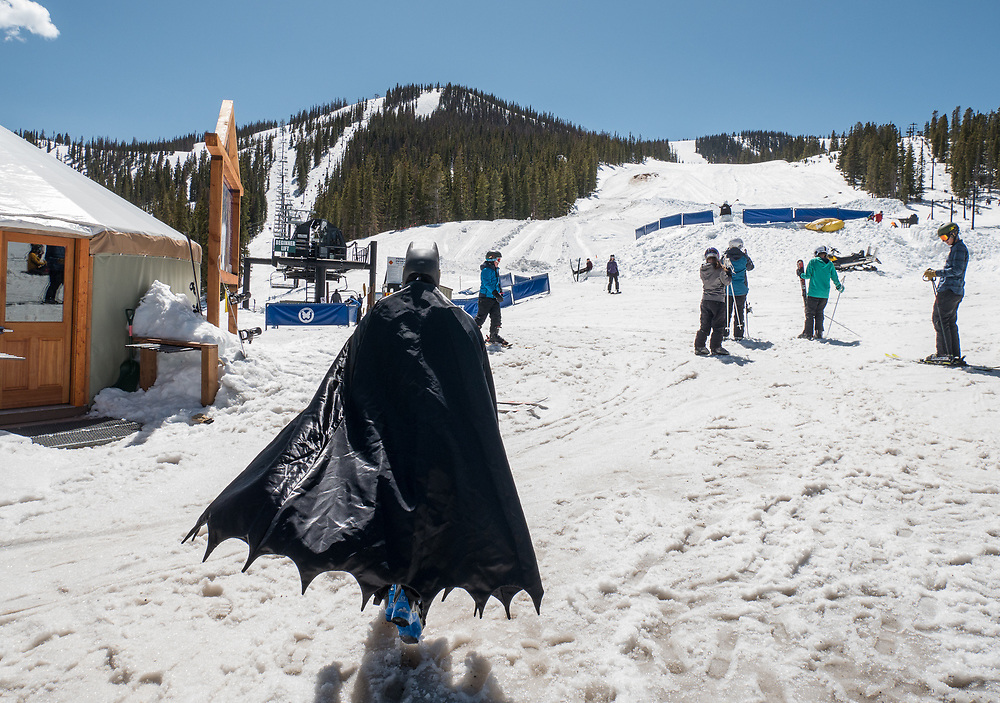 Batman makes an appearance to ski a day before closing at Monarch Mountain.