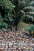 Crowd of people gather for festival in Cameroon, Africa