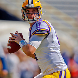 Oct 12, 2013; Baton Rouge, LA, USA; LSU Tigers quarterback Stephen Rivers (17) prior to a game against the Florida Gators at Tiger Stadium. Mandatory Credit: Derick E. Hingle-USA TODAY Sports