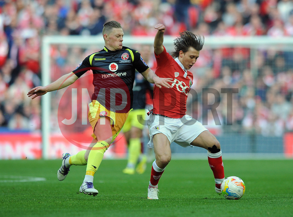 Bristol City's Luke Freeman is closed down by Walsall's Sam Mantom - Photo mandatory by-line: Dougie Allward/JMP - Mobile: 07966 386802 - 22/03/2015 - SPORT - Football - London - Wembley Stadium - Bristol City v Walsall - Johnstone Paint Trophy Final
