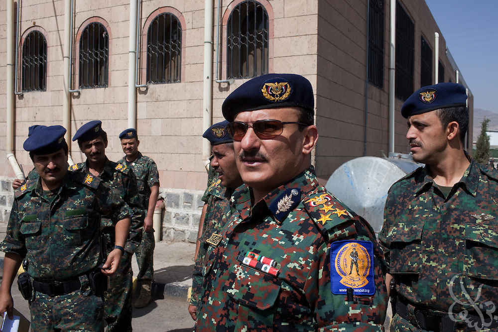 Brigadier General Yahya Mohammed Abdullah Saleh, Chief of Staff of Yemen's Central Security Forces inspects troops under his command at the Central Security Forces Headquarters April 14, 2010 in the Yemeni capital Sana'a. Brig. General Saleh is the nephew of Yemeni President Ali Abdullah Saleh, and is in charge of Yemen's 50,000 + strong Central Security Forces under the Ministry of Interior.