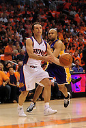 May 23, 2010; Phoenix, AZ, USA; Phoenix Suns guard Steve Nash (13) makes a pass during the first quarter in game three of the western conference finals in the 2010 NBA Playoffs at US Airways Center.  The Suns defeated the Lakers 118-109.   Mandatory Credit: Jennifer Stewart-US PRESSWIRE