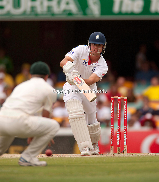 Alastair Cook bats during the first Ashes Test Match between Australia and England at the Gabba, Brisbane. Photo: Graham Morris (Tel: +44(0)20 8969 4192 Email: sales@cricketpix.com) 28/11/10