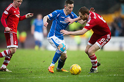St Johnstone&rsquo;s Steven MacLean and Aberdeen&rsquo;s Mark Reynolds. <br /> St Johnstone 3 v 4Aberdeen, SPFL Ladbrokes Premiership played 6/2/2016 at McDiarmid Park, Perth.
