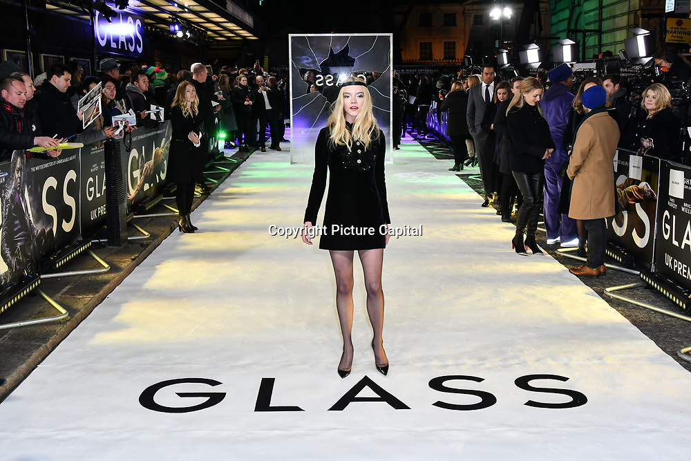Anya Taylor-Joy attends Premiere of M. Night Shyamalan's superhero thriller Glass, which follows Unbreakable and Split on 9 January 2019, London, UK.