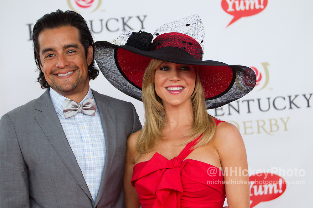 Rich Orosco and Julie Benz attend the Kentucky Derby in Louisville, Ky on May 7, 2011..