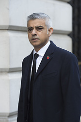 Mayor of London Sadiq Khan makes his way through Downing Street on his way to the annual Remembrance Sunday Service at the Cenotaph memorial in Whitehall, central London, held in tribute for members of the armed forces who have died in major conflicts.