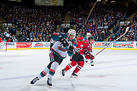 KELOWNA, CANADA - APRIL 7:  Tomas Soustal #15 of the Kelowna Rockets is checked by on April 7, 2017 at Prospera Place in Kelowna, British Columbia, Canada.  (Photo by Marissa Baecker/Shoot the Breeze)  *** Local Caption ***