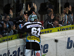 28.10.2011, Keine Sorgen Eisarena, Linz, AUT, EBEL, EHC Liwest Black Wings Linz vs SAPA Fehervar AV19, im Bild Patrick Spannring (Liwest Black Wings Linz, #61) celebreates his Goal, during the Erste Bank Icehockey League, Keine Sorgen Eisarena, Linz, Austria, 2011-10-28, EXPA Pictures © 2011, PhotoCredit: EXPA/ Reinhard Eisenbauer