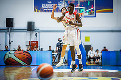 Kucuk Omer of Turkey  and Bona Adem of Turkey  celebrate during basketball match between National teams of Turkey and Slovenia in the SemiFinal of FIBA U18 European Championship 2019, on August 3, 2019 in Nea Ionia Hall, Volos, Greece. Photo by Vid Ponikvar / Sportida
