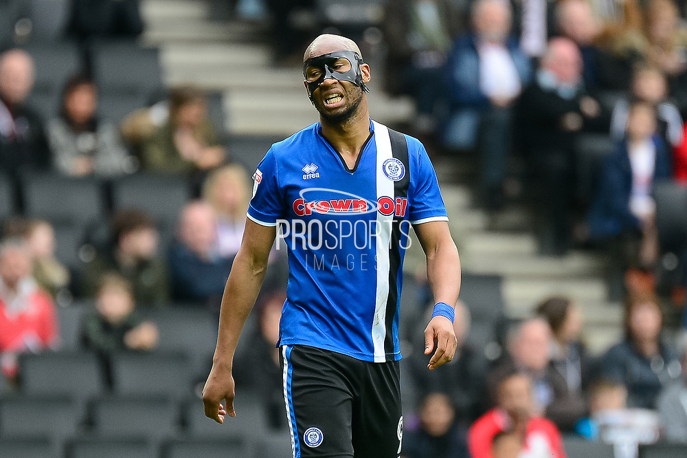 Rochdale striker Calvin Andrew (9) wearing a protective face mask during the EFL Sky Bet League 1 match between Milton Keynes Dons and Rochdale at stadium:mk, Milton Keynes, England on 11 March 2017. Photo by Dennis Goodwin.