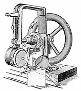 First lockstitch sewing machine, constructed by Elias Howe (1819-1867) American inventor in 1845. Engraving c1880
