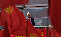 Clerkenwell Green, London, May 1st 2016. Labour Party leader Jeremy Corbyn addresses a rally prior to the annual May Day march to mark International Workers' Day. &copy;Paul Davey<br /> FOR LICENCING CONTACT: Paul Davey +44 (0) 7966 016 296 paul@pauldaveycreative.co.uk