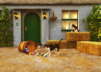 Perfect for those who love Easter, this charming country scene depicts a series of cats in front of a small country home. Bales of hay are nearby. It is a warm, perfect afternoon, and these cats are certainly curious about the basket of Easter eggs that have been left in the yard! Clearly, the cats have already tipped over the basket, causing a bright batch of beautiful eggs to spill out onto the grass. Their curiosity hasn't been sated. They continue to study the eggs carefully. It is unlikely they are ever going to understand what the eggs are for.
