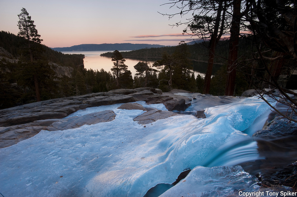 """Frozen Eagle Falls"" - The sun sets over Emerald Bay and Fanette Island"
