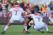 Newcastle Falcons Number 8 Nili Latu (8) is tackled by Leicester Tigers Flanker Brendon O'Connor (7)  during the Aviva Premiership match between Newcastle Falcons and Leicester Tigers at Kingston Park, Newcastle, United Kingdom on 29 October 2017. Photo by Simon Davies.