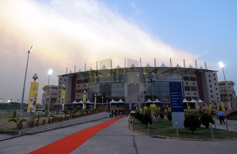 A view of JSCA International Cricket Stadium during match 21 of the Pepsi Indian Premier League Season 2014 between the Chennai Superkings and the Kolkata Knight Riders  held at the JSCA International Cricket Stadium, Ranch, India on the 2nd May  2014<br /> <br /> Photo by Arjun Panwar / IPL / SPORTZPICS<br /> <br /> <br /> <br /> Image use subject to terms and conditions which can be found here:  http://sportzpics.photoshelter.com/gallery/Pepsi-IPL-Image-terms-and-conditions/G00004VW1IVJ.gB0/C0000TScjhBM6ikg