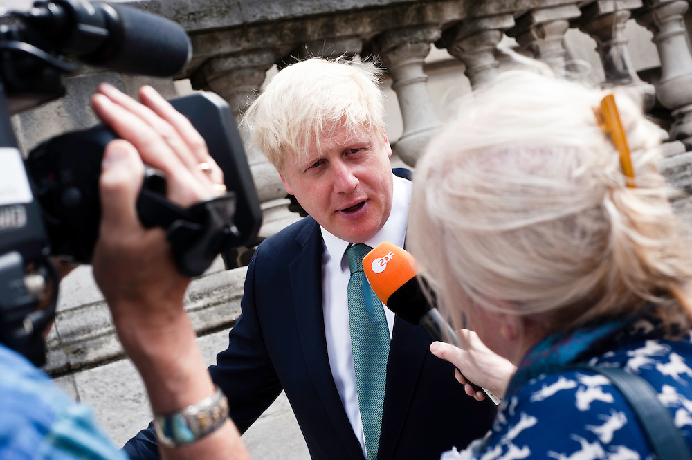 London, UK - 13 August 2012: Mayor Boris Johnson interviewed by ZDF after the final press conference of the Olympic Games to discuss the success of London 2012.