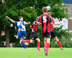 Bristol Rovers' U18s Carlos Gonzalez Barra heads the ball towards goal - Photo mandatory by-line: Dougie Allward/JMP - Tel: Mobile: 07966 386802 17/08/2013 - SPORT - FOOTBALL - Bristol Rovers Training Ground - Friends Life Sports Ground - Bristol - Academy - Under 18s - Youth - Bristol Rovers U18s V Bournemouth U18s