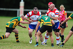 WELLINGBOROUGHS SHAUN MACKIE trys to get past bugbrooke Wellingborough Rugby RFC v Bugbrooke RFC, Midlands 1 East League, Cut Throat Lane Gound, Gt Doddington, Saturday 3rd September 2016