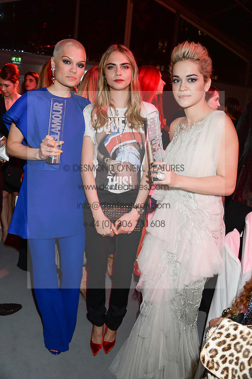 Left to right, JESSIE J, CARA DELEVINGNE and RITA ORA at the Glamour Women of the Year Awards in association with Pandora held in Berkeley Square Gardens, London on 4th June 2013.