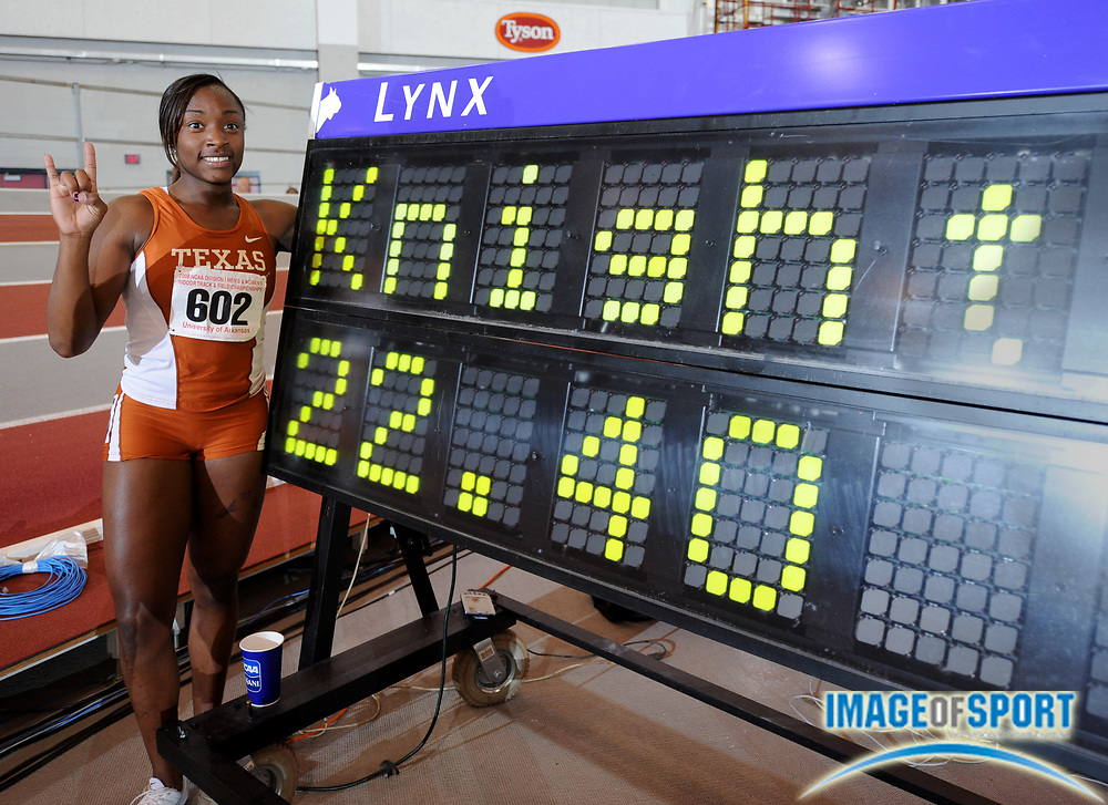 Mar 14, 2008; Fayetteville, AR, USA; Bianca Knight of Texas won the women's 200m in a collegiate record 22.40 in the NCAA Indoor track and field championships at the Randal Tyson Center.