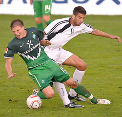 03.08.2010, Thermenbad Stadion, Bad Waltersdorf, AUT, Werder Bremen vs FK Rad Belgrad, Friendly Match  1. FBL 2010  im Bild Foul an Sebastian Prödl / Proedl ( Werder #15)    EXPA Pictures © 2010, PhotoCredit: EXPA/ nph/  Kokenge+++++ ATTENTION - OUT OF GER +++++ / SPORTIDA PHOTO AGENCY