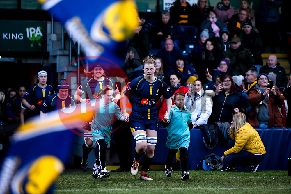 Lyndsay O'Donnell of Worcester Warriors Women leads the side out against Bristol Bears Women - Mandatory by-line: Robbie Stephenson/JMP - 01/12/2019 - RUGBY - Sixways Stadium - Worcester, England - Worcester Warriors Women v Bristol Bears Women - Tyrrells Premier 15s
