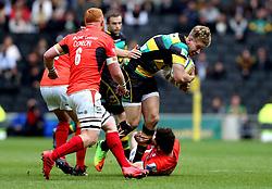 Harry Mallinder of Northampton Saints is tackled - Mandatory by-line: Robbie Stephenson/JMP - 16/04/2017 - RUGBY - StadiumMK - Milton Keynes, England - Northampton Saints v Saracens - Aviva Premiership