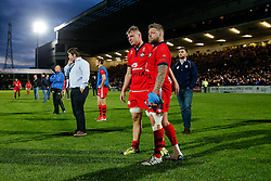 Number 8 Mitch Eadie and Hooker Chris Brooker look dejected after Worcester score a converted try with the last play of the game to draw the match 30-30 and win by 1 point over the two legs to deny Bristol promotion to the Aviva Premiership - Photo mandatory by-line: Rogan Thomson/JMP - 07966 386802 - 27/05/2015 - SPORT - Rugby Union - Worcester, England - Sixways Stadium - Worcester Warriors v Bristol Rugby - Greene King IPA Championship Play-Off Final 2nd Leg.