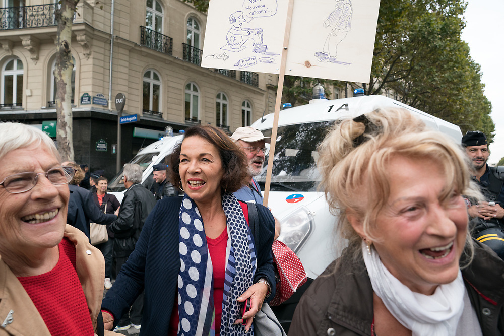 France, Paris, 28 September 2017. Protest  march by retired against Government's ruling on labor reform.
