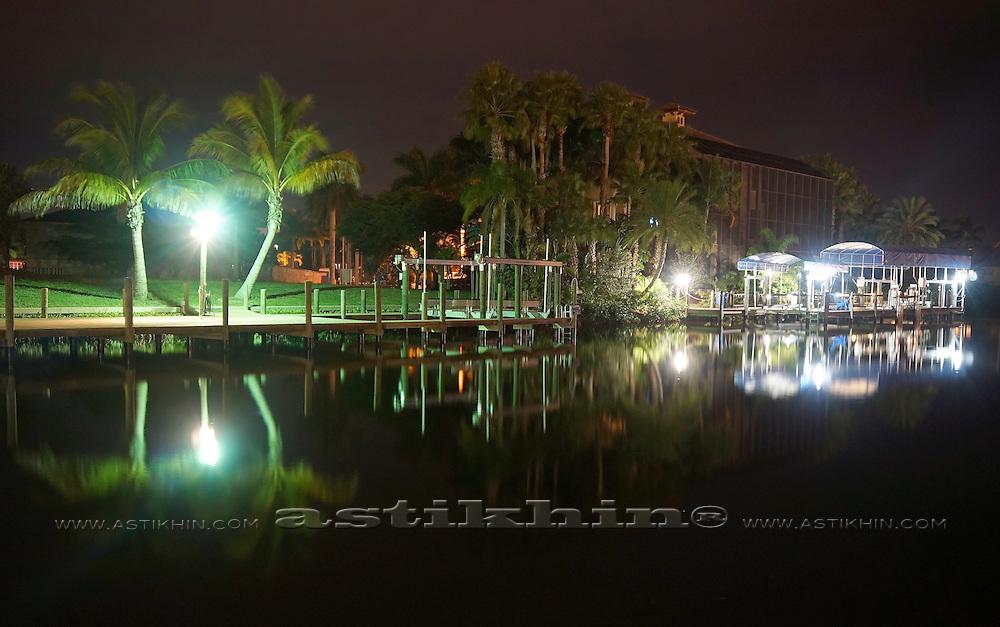 Harbor at night in Florida.