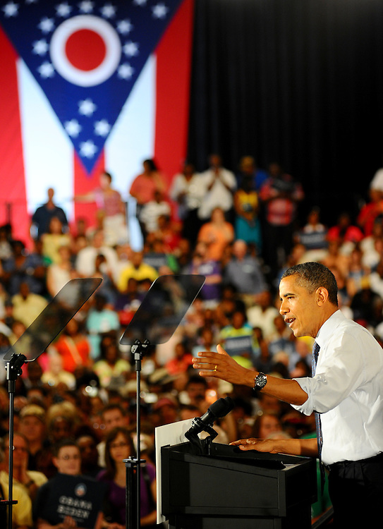 LAURA FONG | SUMMER KENT STATER President Barack Obama maintains his commitment to Ohio working families as he adresses supporters at the John S Knight Center in Akron Wednesday.