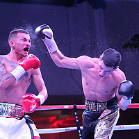 """Jean Carlos """"Chapito"""" Rivera fights Jason Sanchez during their championship boxing match for the WBO Junior World Title at the Hotel El Panama Convention Center on Wednesday, October 31, 2018 in Panama City, Panama. (Alex Menendez via AP)     <br /> <br />   NOT FOR TOP RANK without permission and payment!"""