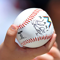 March 20, 2012; Jupiter FL, USA; A fan waits to have her autograph baseball signed my Miami Marlins center fielder Scott Cousins (not pitched) before a spring training game against the Tampa Bay Rays at Roger Dean Stadium. Mandatory Credit: Steve Mitchell-US PRESSWIRE