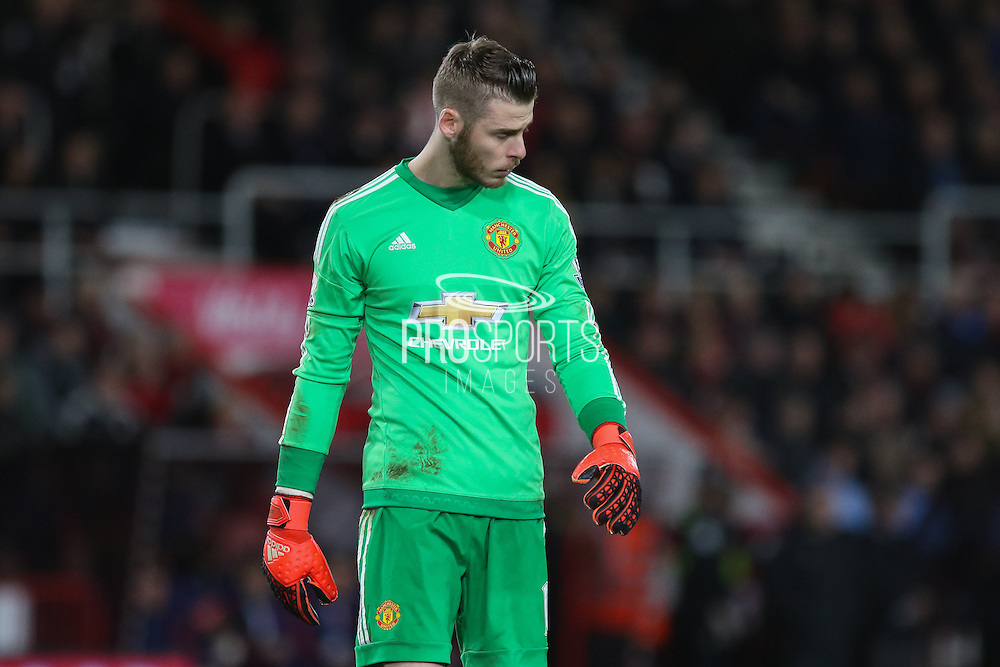 David De Gea of Manchester United during the Barclays Premier League match between Bournemouth and Manchester United at the Goldsands Stadium, Bournemouth, England on 12 December 2015. Photo by Phil Duncan.