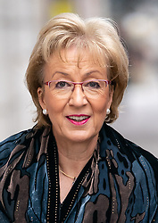 © Licensed to London News Pictures. 27/03/2019. London, UK. Leader of the House of Commons Andrea Leadsom arrives for a radio interview in Westminster. Later today MPs are expected to vote on a series of indicative votes on alternative proposals to British Prime Minister Theresa May's withdrawal agreement. Photo credit : Tom Nicholson/LNP