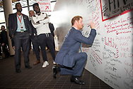 21st International AIDS Conference (AIDS 2016), Durban, South Africa.<br /> Photo shows HRH Price Harry at the HIV Protest Wall.<br /> Photo&copy;International AIDS Society/Steve Forrest/Workers' Photos