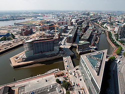 View over new massive property development at Hafencity in Hamburg Germany