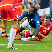 PARIS, FRANCE - September 10:   Moussa Sissoko #17 of France is fouled on the edge of the box by Jesús Rubio #`18 of Andorra during the France V Andorra, UEFA European Championship 2020 Qualifying match at Stade de France on September 10th 2019 in Paris, France (Photo by Tim Clayton/Corbis via Getty Images)