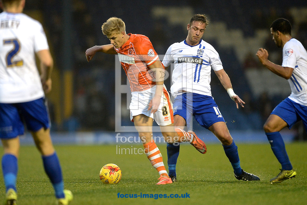 Brad Potts of Blackpool (2nd left) during the Sky Bet League 1 match at Gigg Lane, Bury<br /> Picture by Ian Wadkins/Focus Images Ltd +44 7877 568959<br /> 31/10/2015