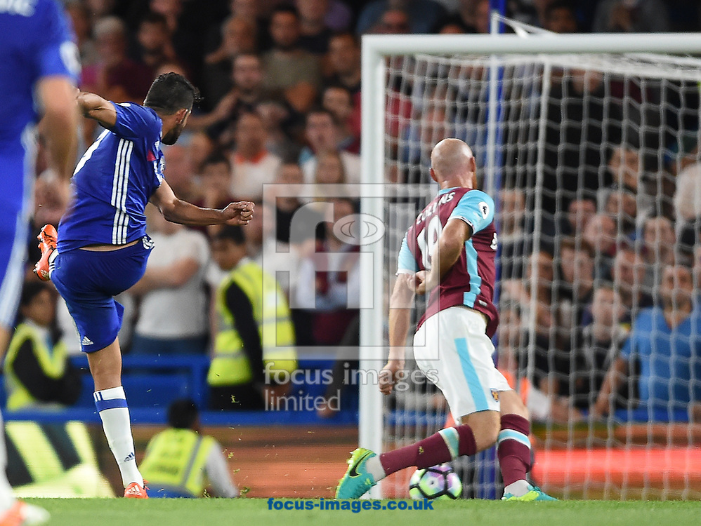 Diego Costa of Chelsea scores their second goal during the Premier League match at Stamford Bridge, London<br /> Picture by Daniel Hambury/Focus Images Ltd +44 7813 022858<br /> 15/08/2016