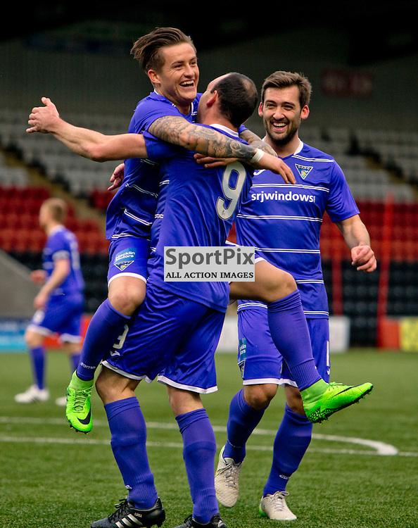 Airdrieonians v Dunfermline Athletic SPFL League One Season 2015/16 Excelsior Stadium 14 November 2015<br /> Michael Moffat celebrates with Rhys McCabe<br /> CRAIG BROWN | sportPix.org.uk