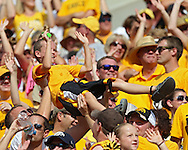 August 31 2013: Iowa Hawkeyes fans during the second quarter of the NCAA football game between the Northern Illinois Huskies and the Iowa Hawkeyes at Kinnick Stadium in Iowa City, Iowa on August 31, 2013. Northern Illinois defeated Iowa 30-27.