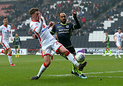 Byron Moore of Bristol Rovers takes on Josh Tymon of Milton Keynes Dons - Mandatory by-line: Robbie Stephenson/JMP - 03/03/2018 - FOOTBALL - Stadium MK - Milton Keynes, England - Milton Keynes Dons v Bristol Rovers - Sky Bet League One