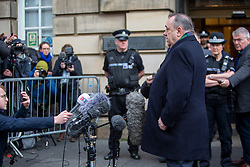 Alex Salmond leaves the High Court ands speaks to the press.