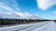 Scenic view of Saint Elias Mountains along the Alaska Highway north of Haines Junction in the Yukon Territory. Winter. Morning.