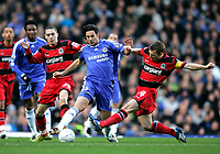 Photo: Tom Dulat.<br /> <br /> Chelsea v Queens Park Rangers. FA Cup Third Round. 05/01/2008. <br /> <br /> Hogan Ephraim (L), Martin Rowlands (R) of Queens Park Rangers and Claudio Pizarro of Chelsea with the ball.