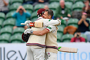 100 for James Hildreth of Somerset - James Hildreth of Somerset celebrates scoring his century and is congraulated by Steve Davies of Somerset during the Specsavers County Champ Div 1 match between Somerset County Cricket Club and Middlesex County Cricket Club at the Cooper Associates County Ground, Taunton, United Kingdom on 27 September 2017. Photo by Graham Hunt.