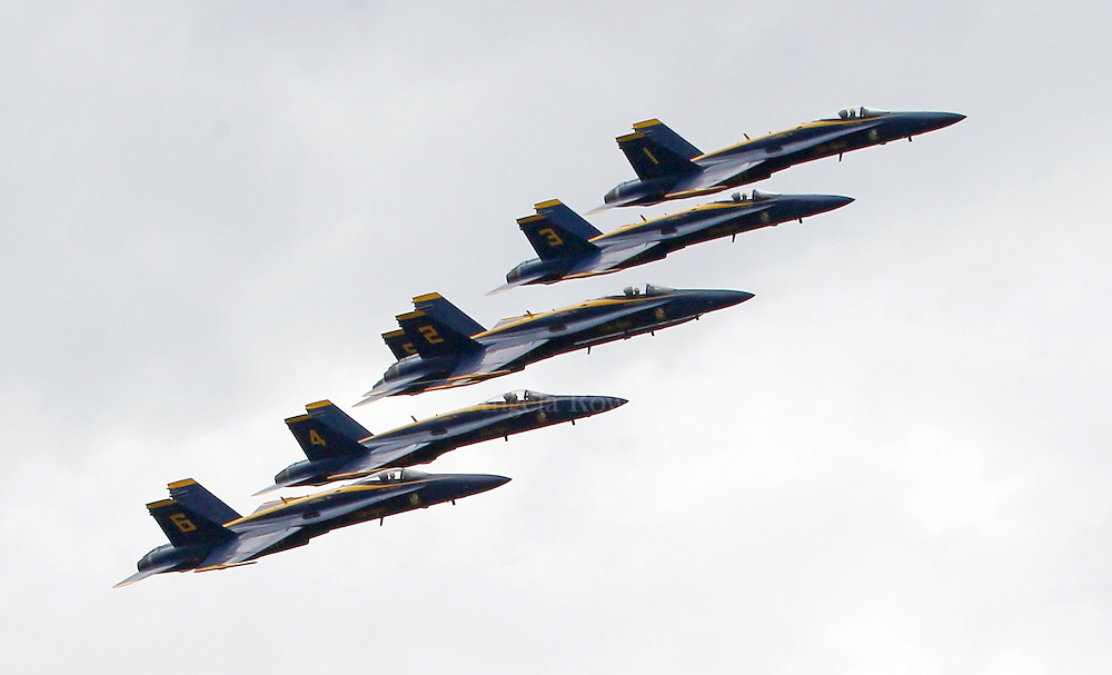 (Boston, MA - 5/26/15) The Blue Angels fly in formation over Castle Island, Tuesday, May 26, 2015. Staff photo by Angela Rowlings.